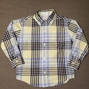 Janie & jack blue yellow plaid button down shirt